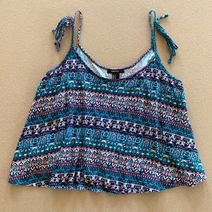 Forever 21 Swing Crop Top Shirt Aztec Colorful